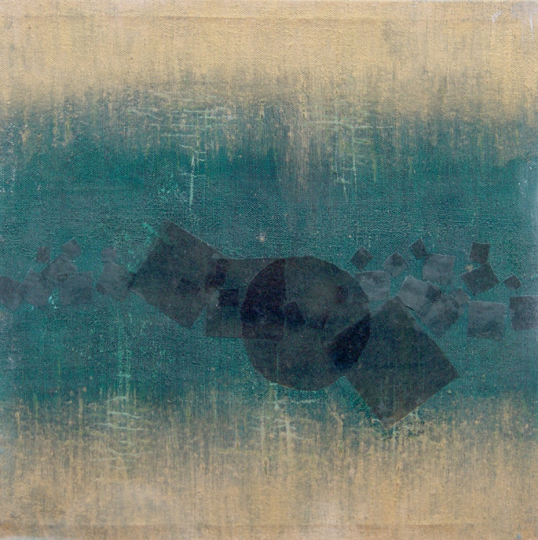 Francesca Cho: Gold Light, 2000. Oil & mixed media on canvas, 52x52cm