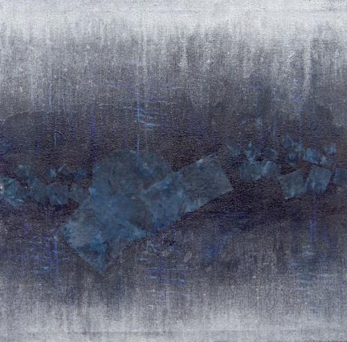 Francesca Cho: Silver Light (2000). Oil & mixed media on canvas, 52x52cm