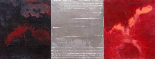 Francesca Cho: West, Pacific and East, 1996. Oil on card, 85x55cm