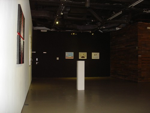 Exhibition View: Moon Jeong Min (Left), Joo Hee Chun + Jee Soo Shin (Far left, Middle), Miso Park (Far middle)