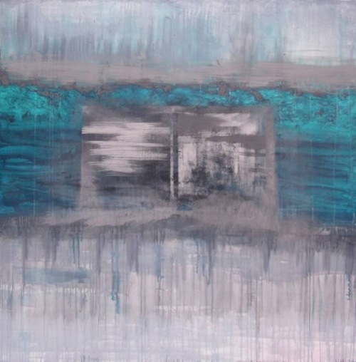 Francesca Cho: The World Turns Upside Down (2011) Oil and ash on canvas, 183 x 183 cm