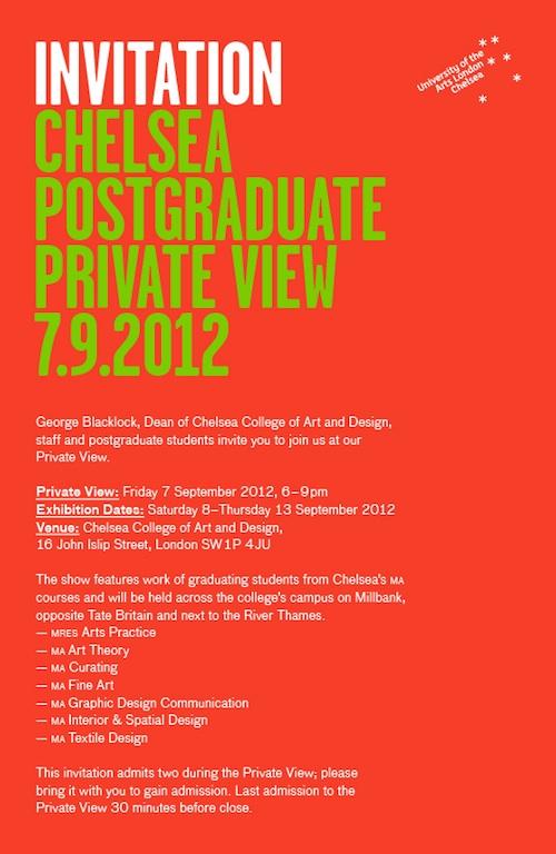 Chelsea postgraduate show poster